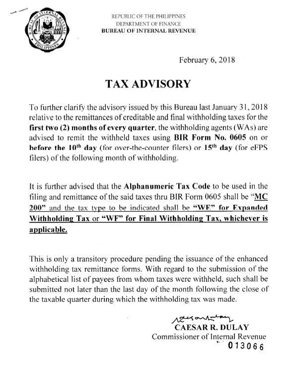 Tax Advisory on EWT and FWT – Facing PH Taxes